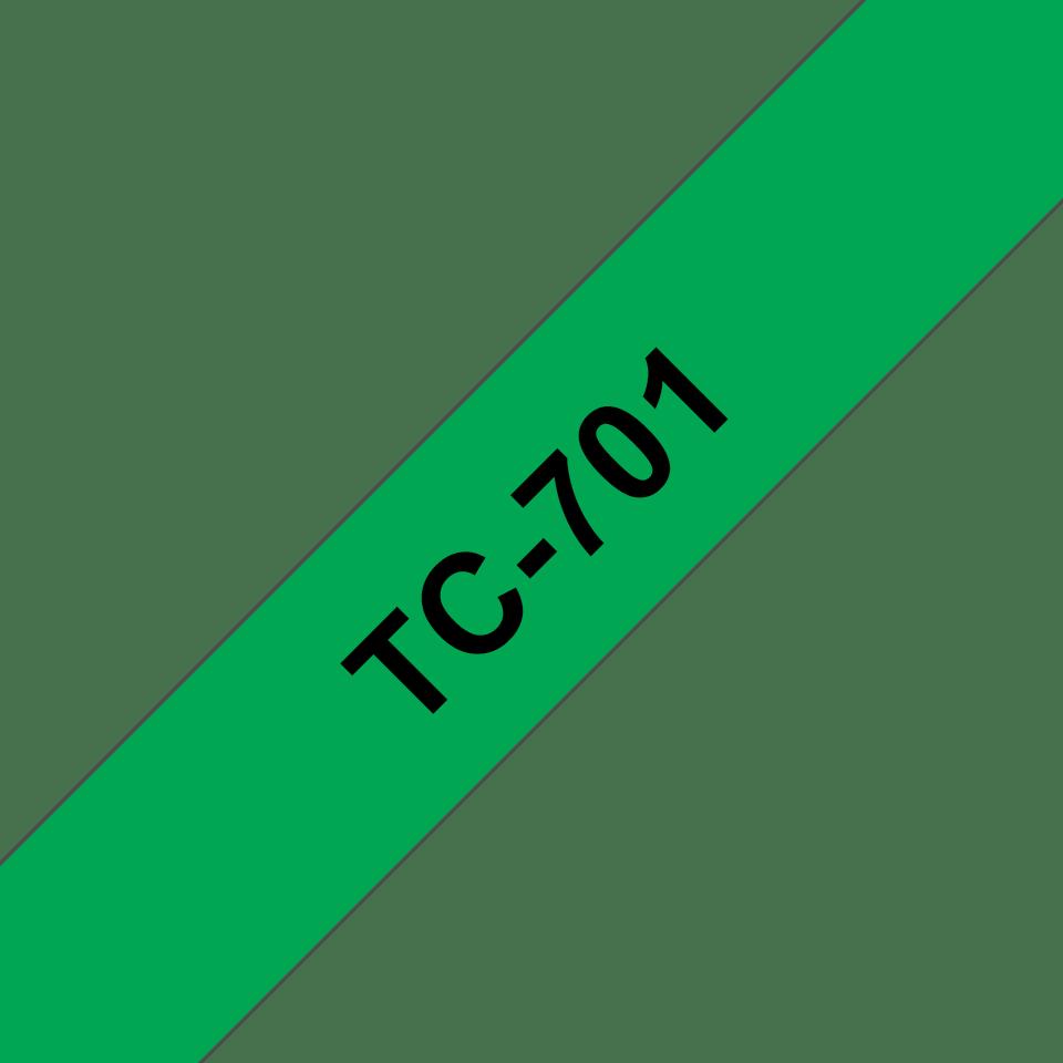 Eredeti Brother TC701 szalagkazetta - zöld alapon fekete, 12 mm széles