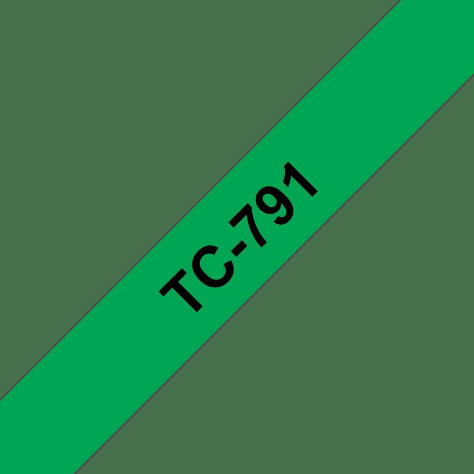 Eredeti Brother TC791 szalagkazetta - zöld alapon fekete, 9 mm széles