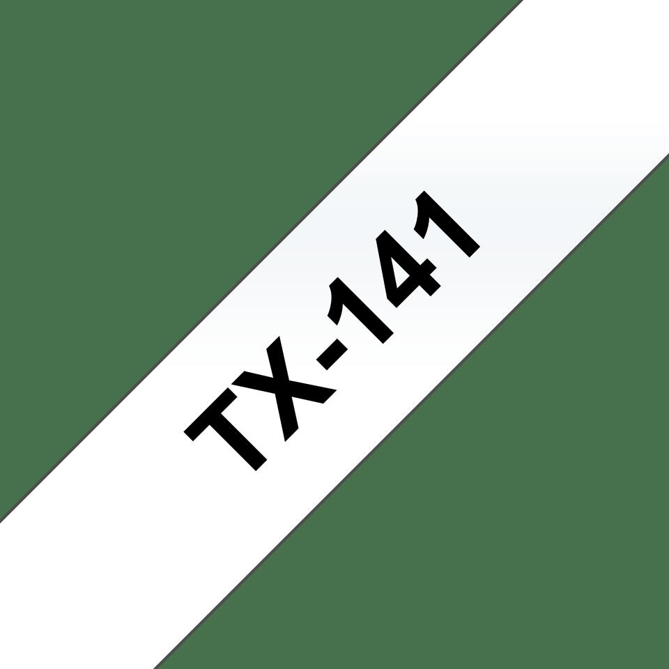 Eredeti Brother TX141 szalagkazetta - átlátszó alapon fekete, 18 mm széles