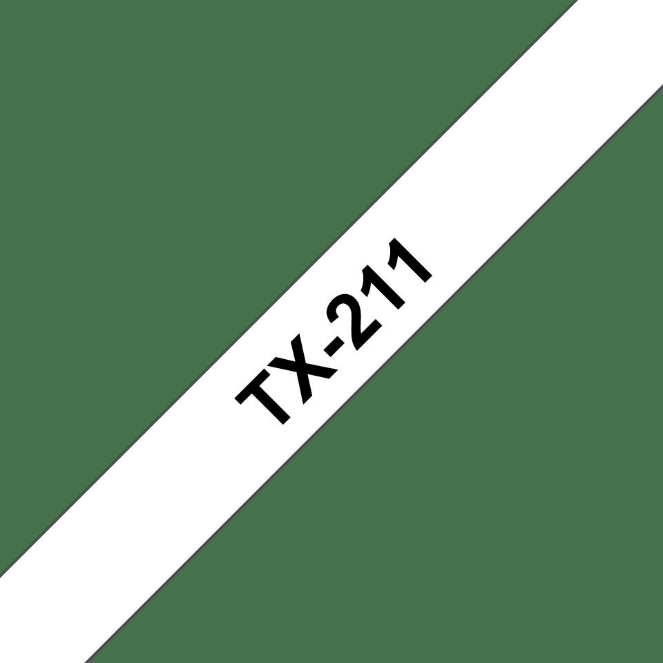Eredeti Brother TX211 szalagkazetta - fehér alapon fekete, 6 mm széles