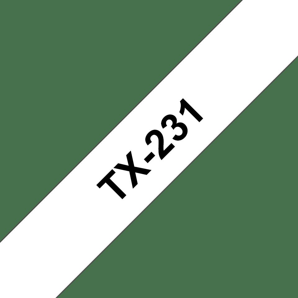 Eredeti Brother TX231 szalagkazetta - fehér alapon fekete, 12 mm széles