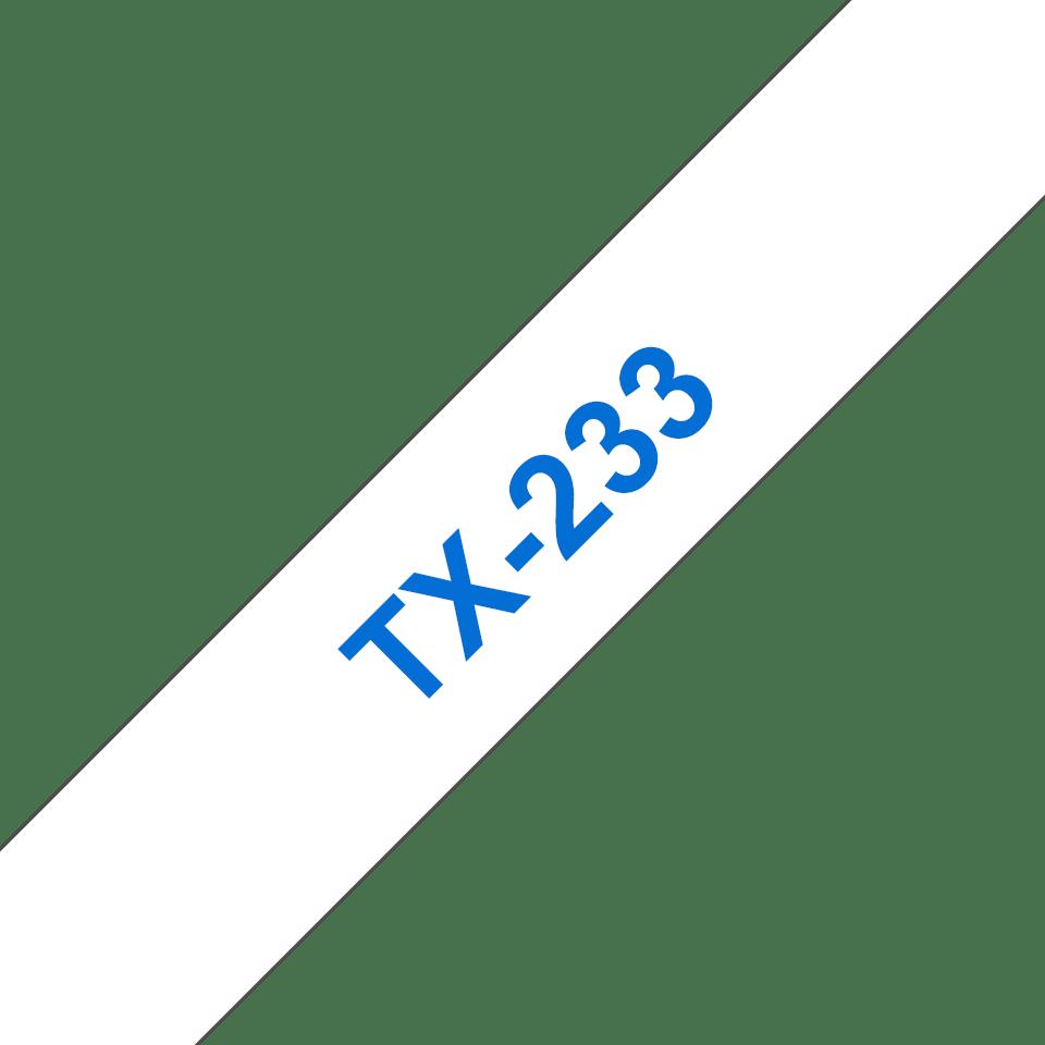 Eredeti Brother TX233 laminált szalagkazetta - fehér alapon kék, 12 mm széles
