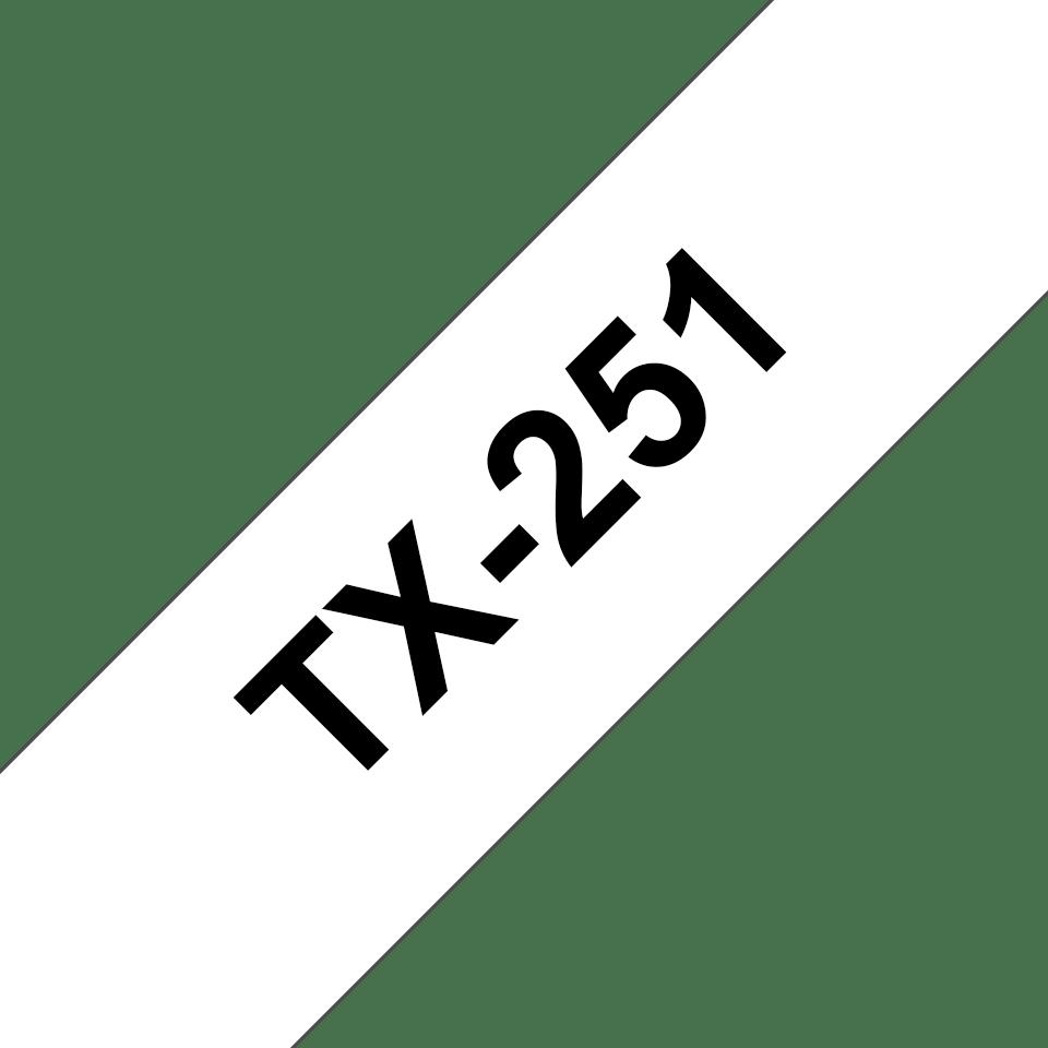 Eredeti Brother TX-251 szalagkazetta – Fehér alapon fekete, 24mm széles