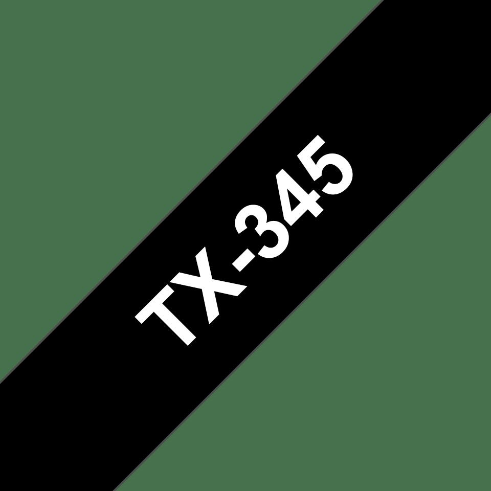 Eredeti Brother TX345 szalagkazetta - fekete alapon fehér, 18 mm széles