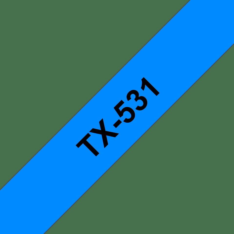 Eredeti Brother TX531 szalagkazetta - kék alapon fekete, 12 mm széles