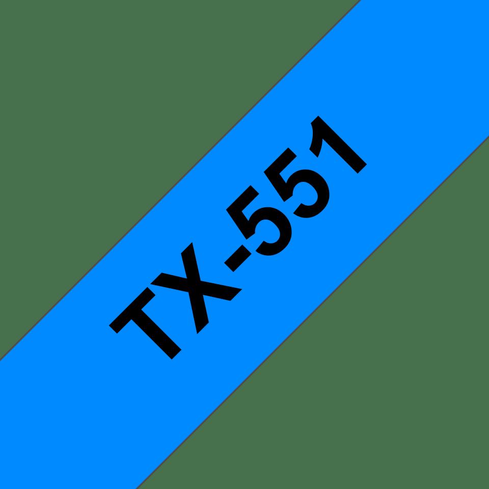 Eredeti Brother TX551 szalagkazetta - kék alapon fekete, 24 mm széles