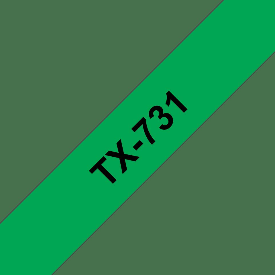 Eredeti Brother TX731 szalagkazetta - zöld alapon fekete, 12 mm széles
