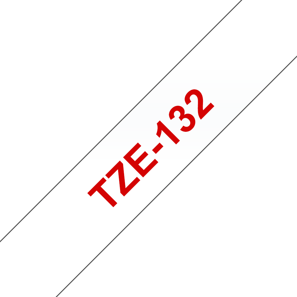 Eredeti Brother TZe-132 laminált szalag– Átllátszó alapon piros, 12mm széles 3