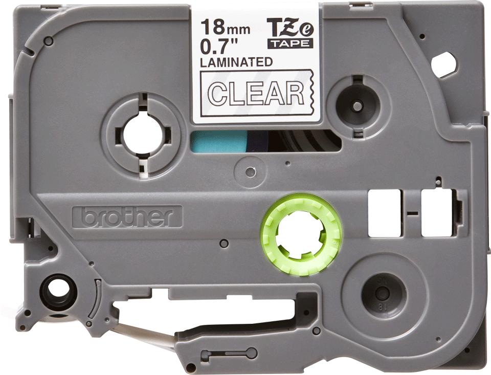 Eredeti Brother TZe-145 laminált szalag – Átlátszó alapon fekete, 18mm széles