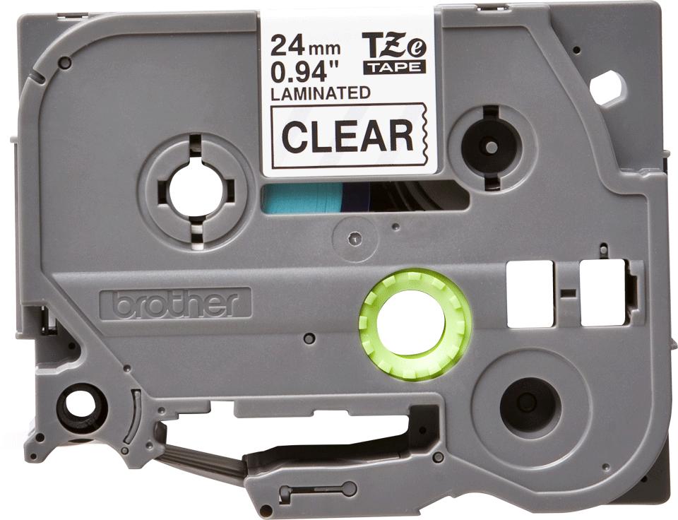 Eredeti Brother TZe-151 laminált szalag – Átlátszó alapon fekete, 24mm széles