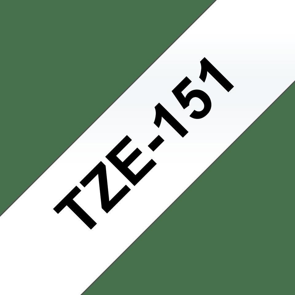 Eredeti Brother TZe-151 laminált szalag – Átlátszó alapon fekete, 24mm széles 3
