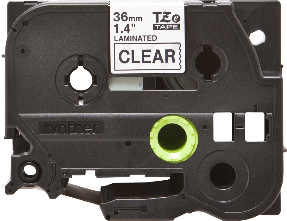 Eredeti Brother TZe-161 laminált szalag – Átlátszó alapon fekete, 36mm széles