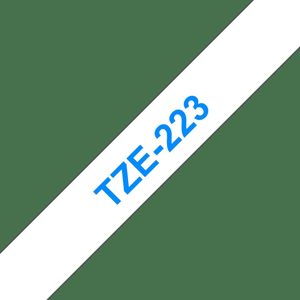 Eredeti Brother TZe-223 laminált szalag – Fehér alapon kék, 9mm széles 3
