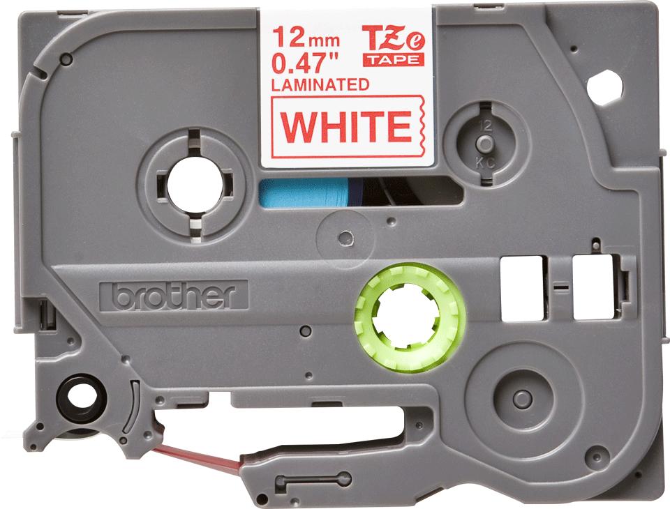 Eredeti Brother TZe232 laminált szalag – Fehér alapon piros, 12mm széles