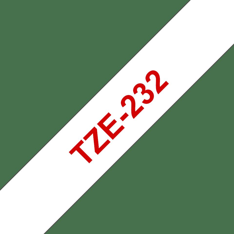 Eredeti Brother TZe232 laminált szalag – Fehér alapon piros, 12mm széles 3