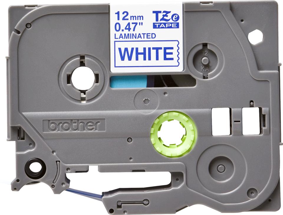 Eredeti Brother TZe-233 laminált szalag – Fehér alapon kék, 12mm széles 2