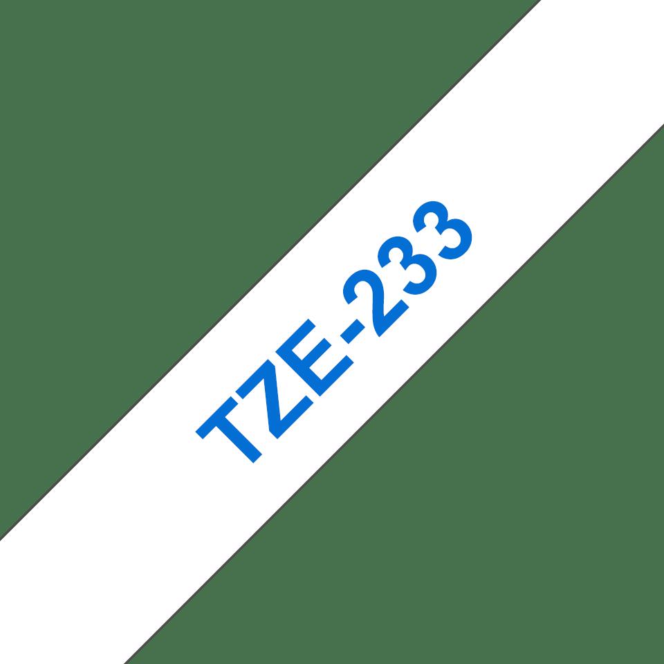 Eredeti Brother TZe-233 laminált szalag – Fehér alapon kék, 12mm széles 3