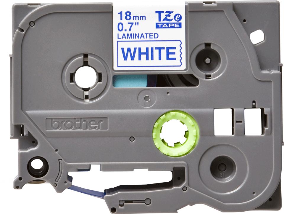 Eredeti Brother TZe-243 laminált szalag – Fehér alapon kék, 18mm széles 2