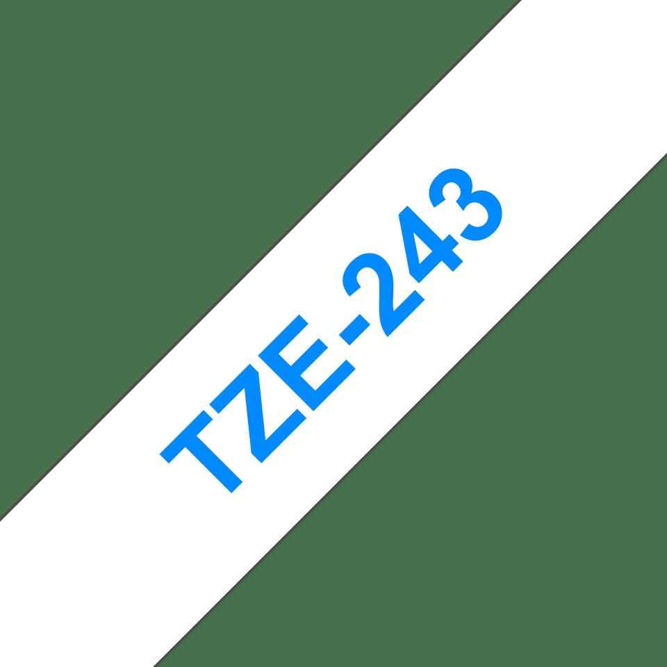 Eredeti Brother TZe-243 laminált szalag – Fehér alapon kék, 18mm széles 3