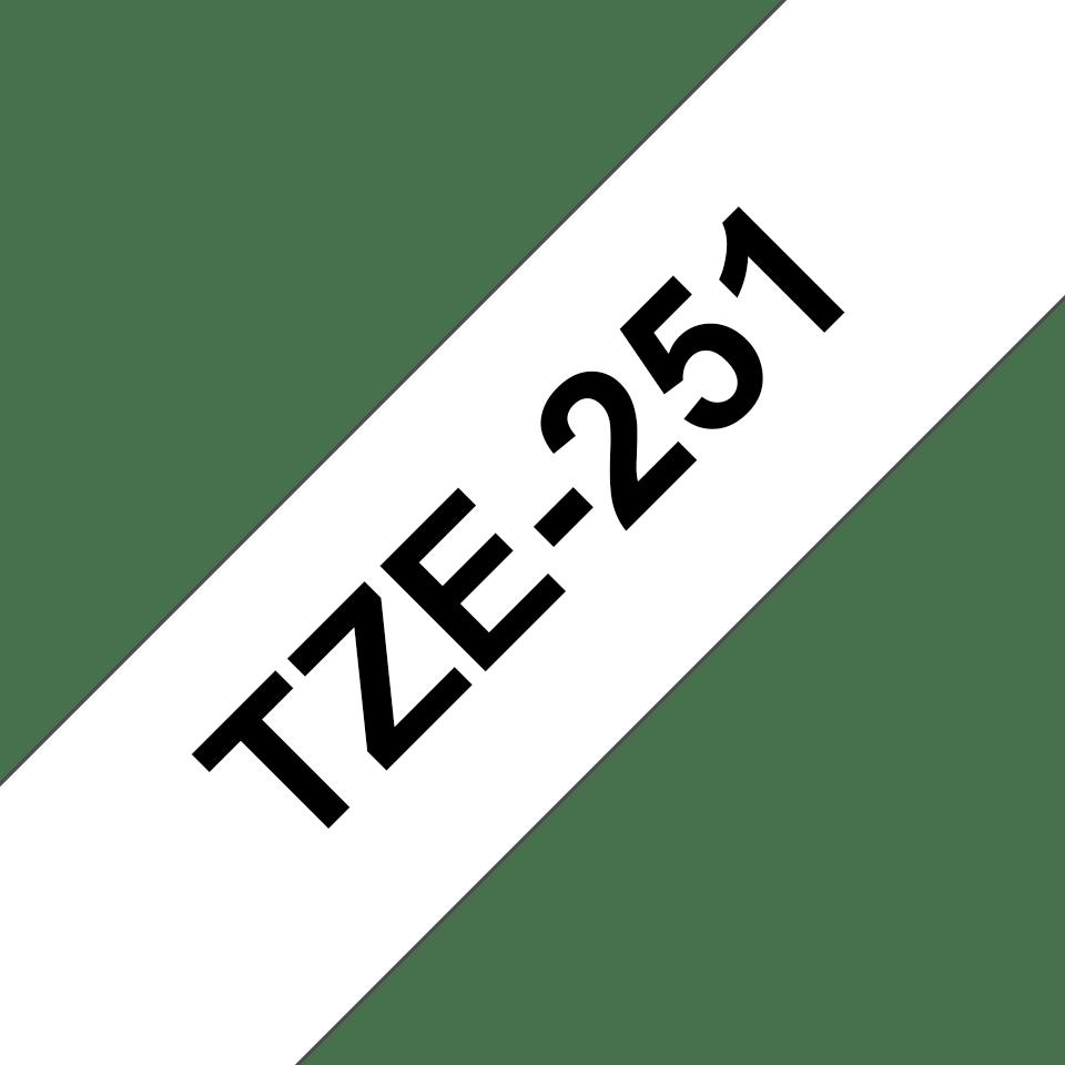 Eredeti Brother TZe-251 laminált szalag – Fehér alapon fekete, 24mm széles 3