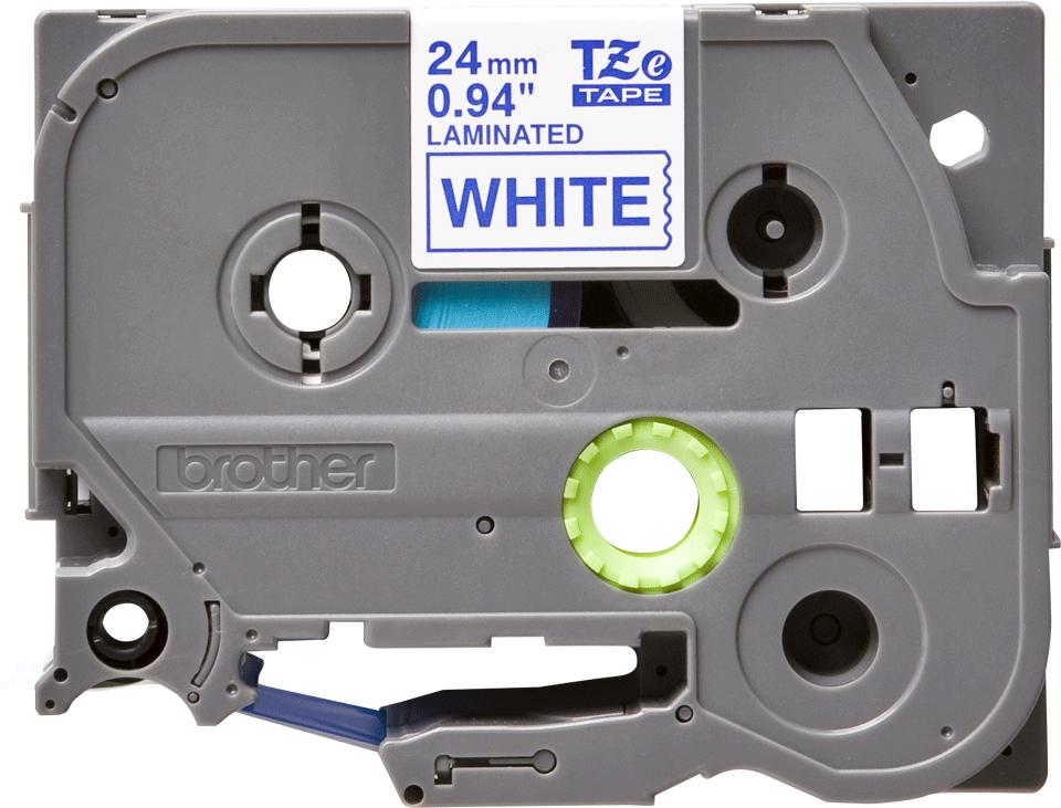 Eredeti Brother TZe-253 laminált szalag – Fehér alapon kék, 24mm széles
