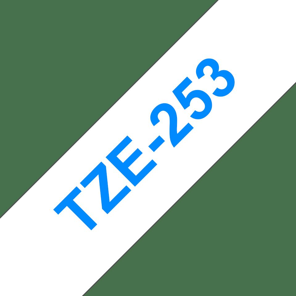 Eredeti Brother TZe-253 laminált szalag – Fehér alapon kék, 24mm széles 3