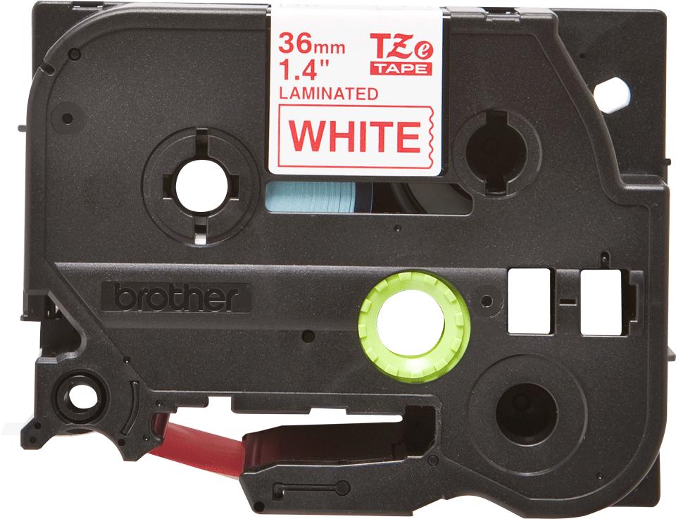 Eredeti Brother TZe-262 laminált szalag – Fehér alapon piros, 36mm széles
