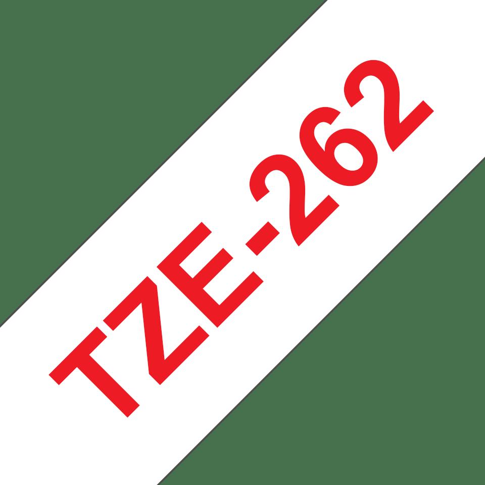 Eredeti Brother TZe-262 laminált szalag – Fehér alapon piros, 36mm széles 3