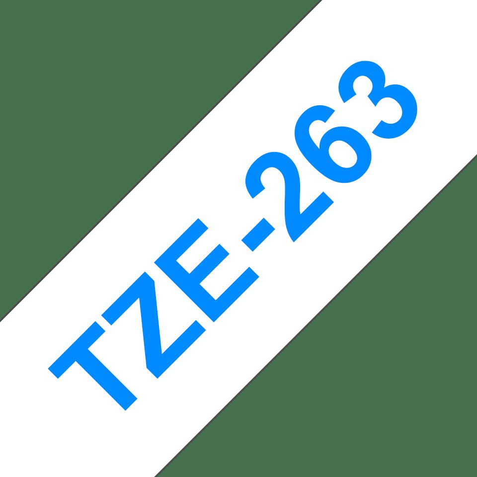 Eredeti Brother TZe-263 laminált szalag – Fehér alapon kék, 36mm széles 3