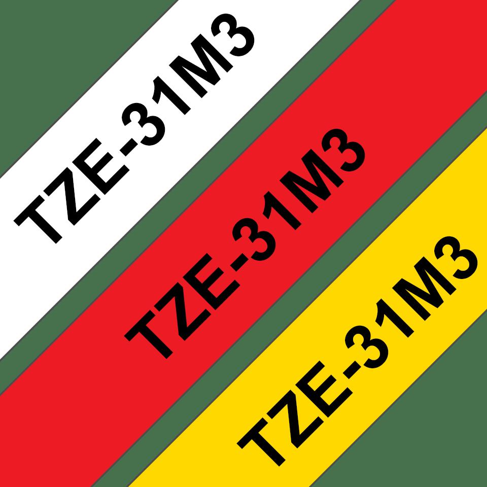 Eredeti Brother TZe-31M3 laminált szalag– Piros, fehér és sárga alapon fekete, 12mm széles 3