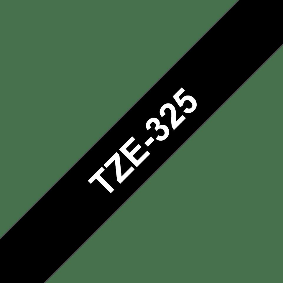 Eredeti Brother TZe-325 laminált szalag – Fekete alapon fehér, 9mm széles 3