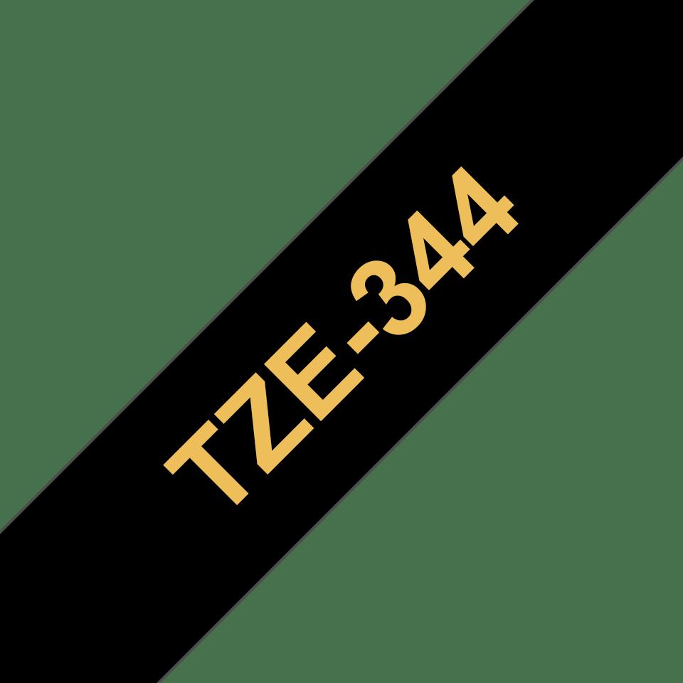 Eredeti Brother TZe-344 szalag – Fekete alapon arany, 18mm széles