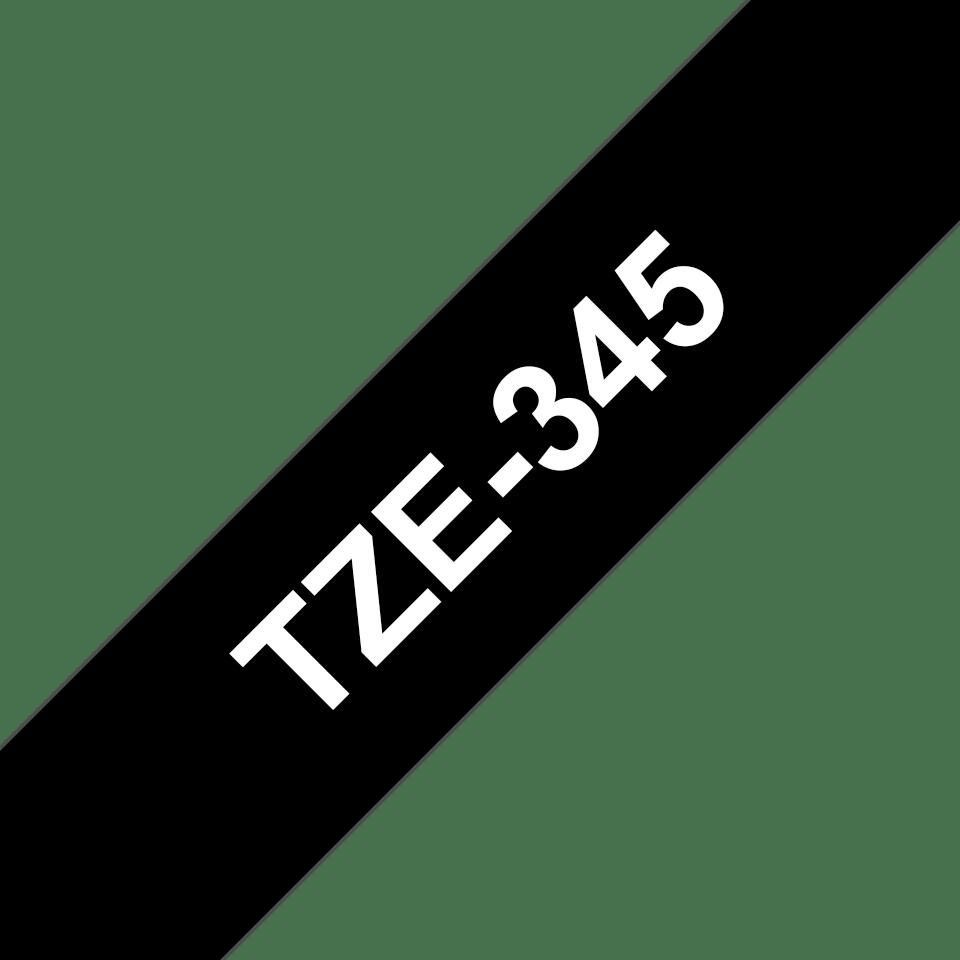 Eredeti Brother TZe-345 laminált szalag – Fekete alapon fehér, 18mm széles 3