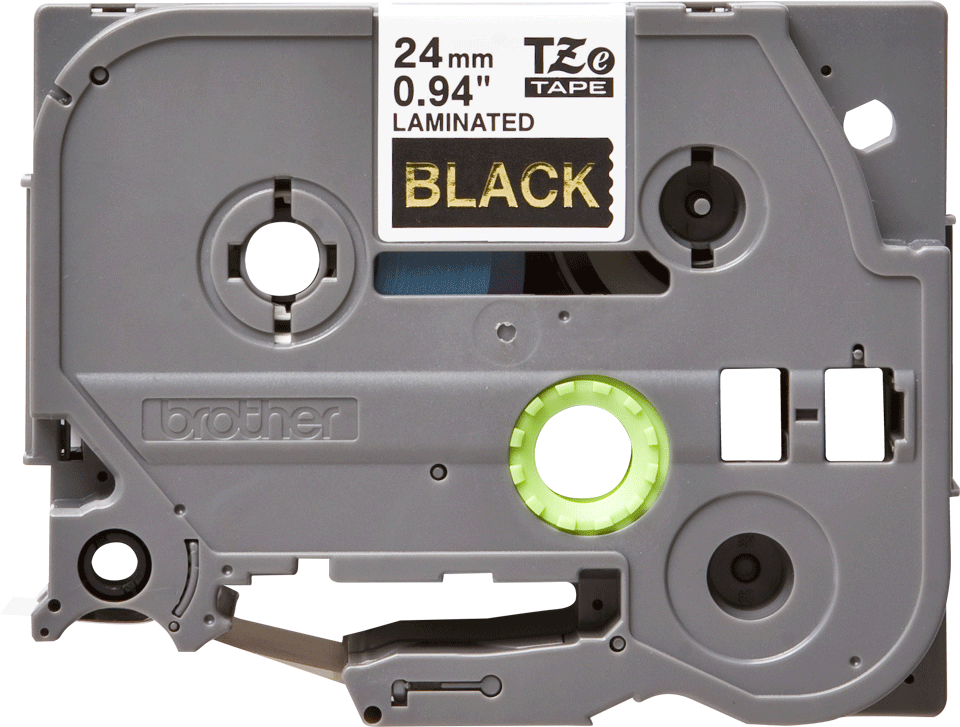 Eredeti Brother TZe-354 laminált szalag – Fekete alapon arany, 24mm széles