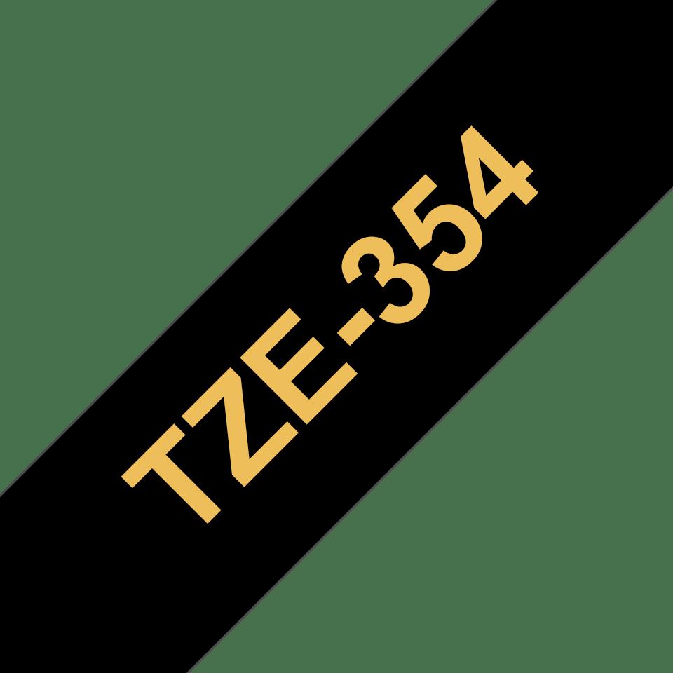 Eredeti Brother TZe-354 laminált szalag – Fekete alapon arany, 24mm széles 3