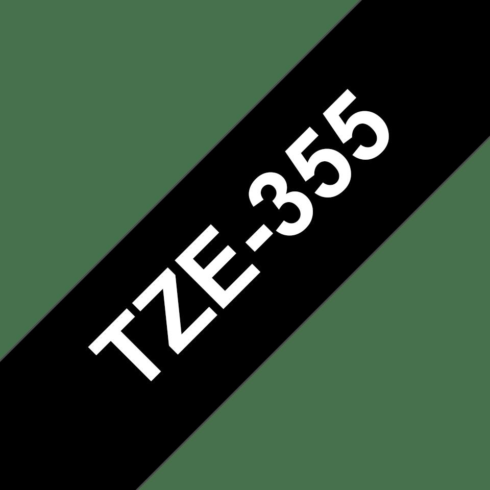 Eredeti Brother TZe-355 laminált szalag – Fekete alapon fehér, 24mm széles 3