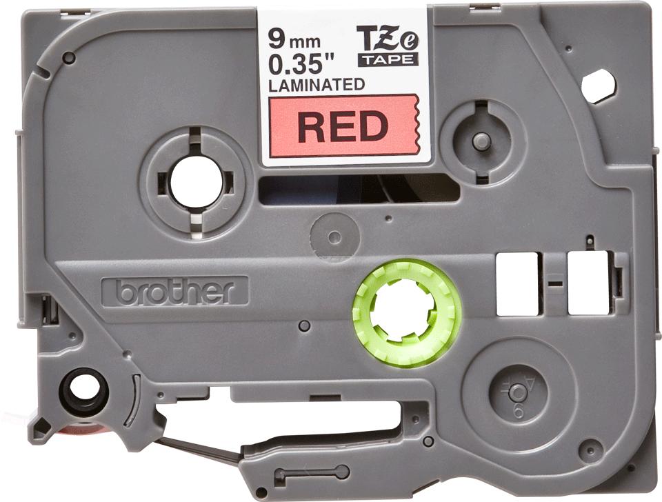 Eredeti Brother TZe-421 laminált szalag – piros alapon fekete, 9mm széles