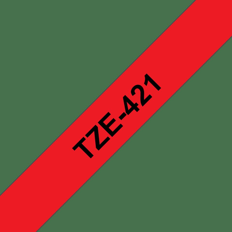 Eredeti Brother TZe-421 laminált szalag – piros alapon fekete, 9mm széles 3