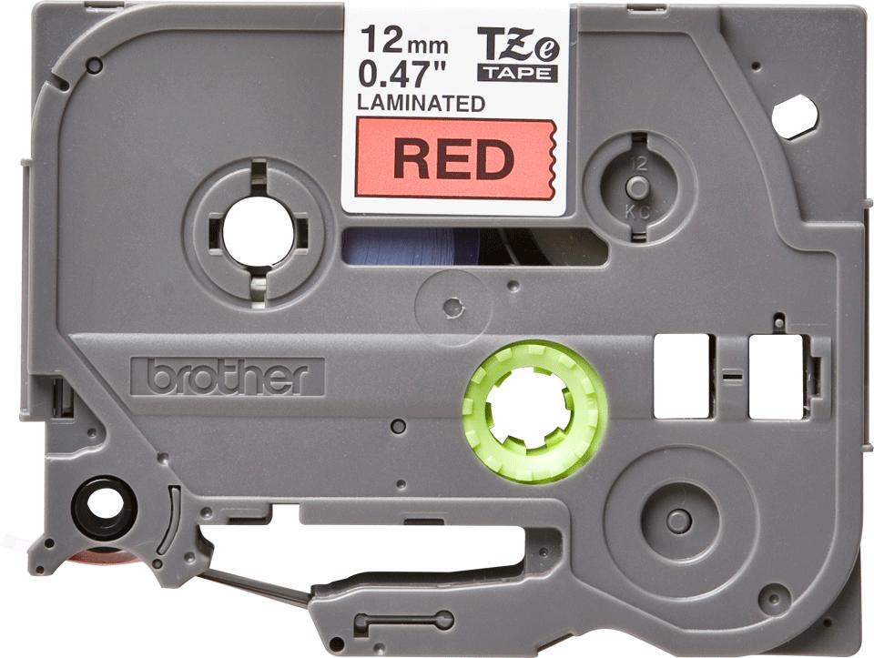 Eredeti Brother TZe-431 laminált szalag – piros alapon fekete, 12mm széles