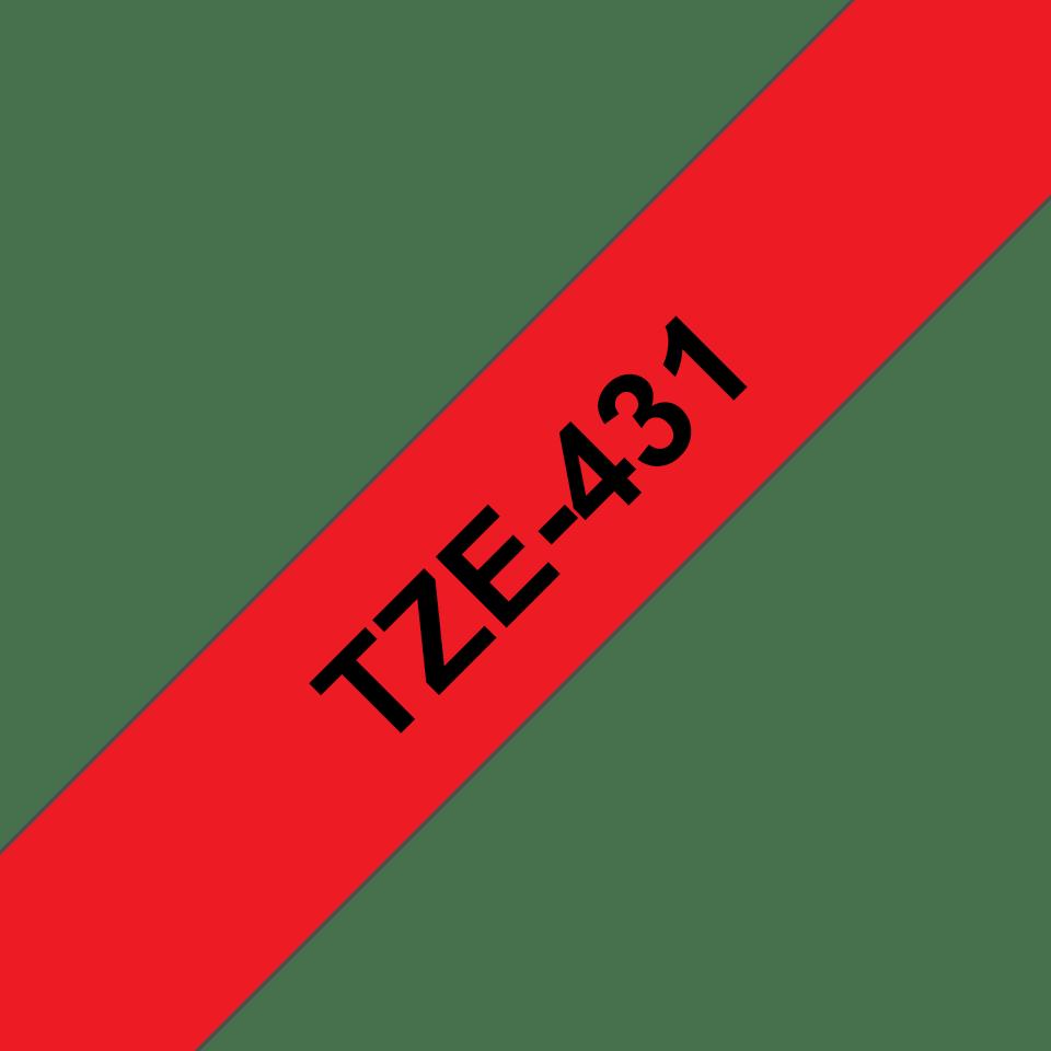 Eredeti Brother TZe-431 laminált szalag – piros alapon fekete, 12mm széles 3