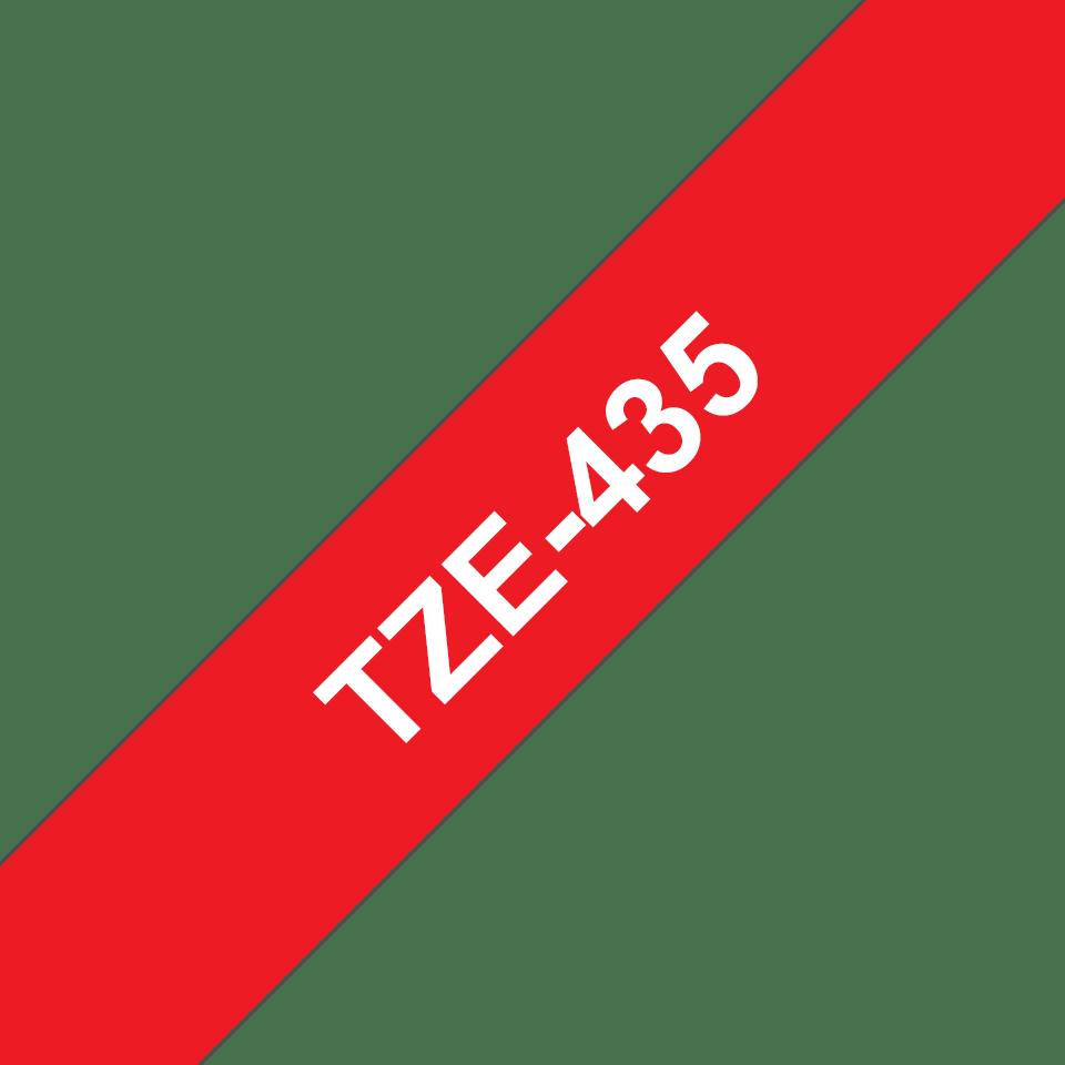 Eredeti Brother TZe-435 laminált szalag – Piros alapon fehér, 12mm széles 3