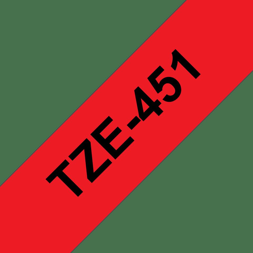 Eredeti Brother TZe-451 szalag –Piros alapon fekete, 24mm széles 3