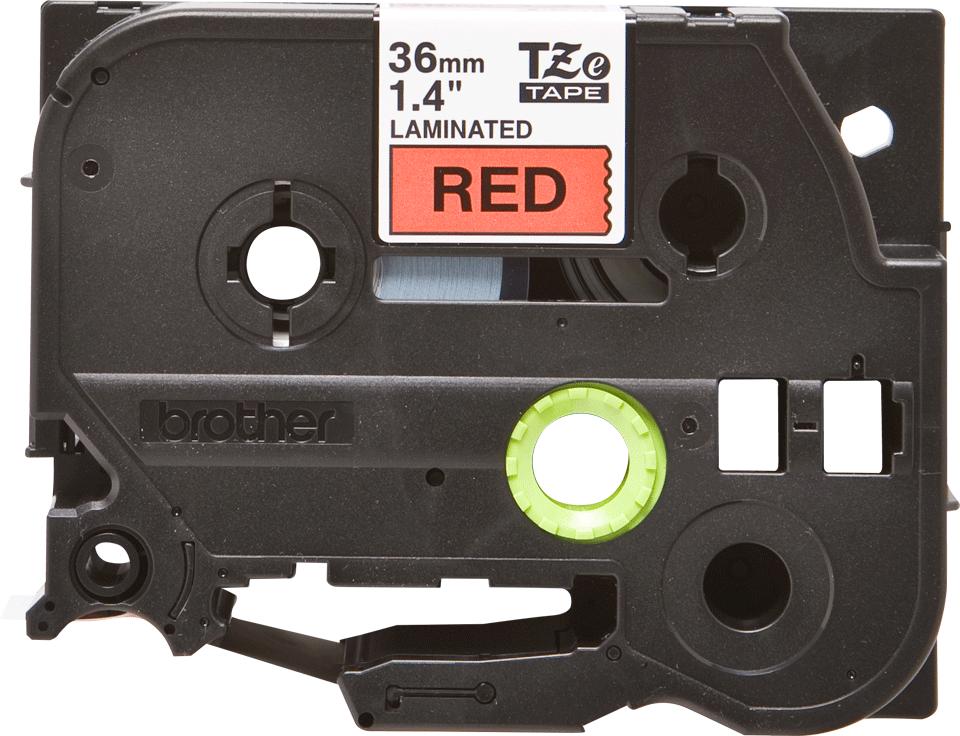 Eredeti Brother TZe-461 laminált szalag – Piros alapon fekete, 36mm széles