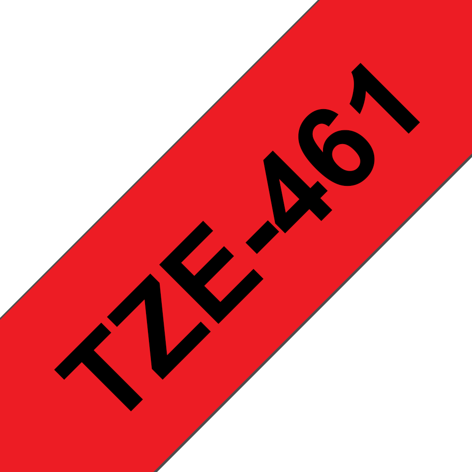 Eredeti Brother TZe-461 laminált szalag – Piros alapon fekete, 36 mm széles