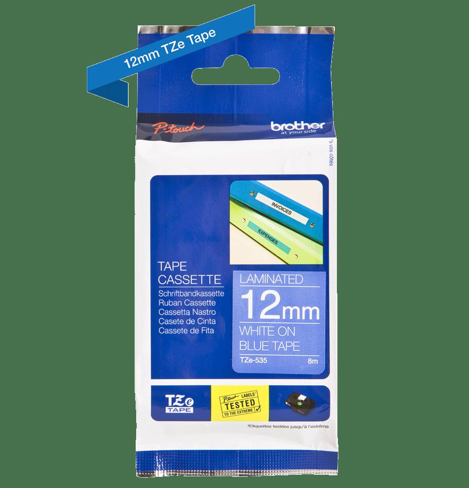 Eredeti Brother TZe-535 szalag – Kék alapon fehér, 12mm széles 2