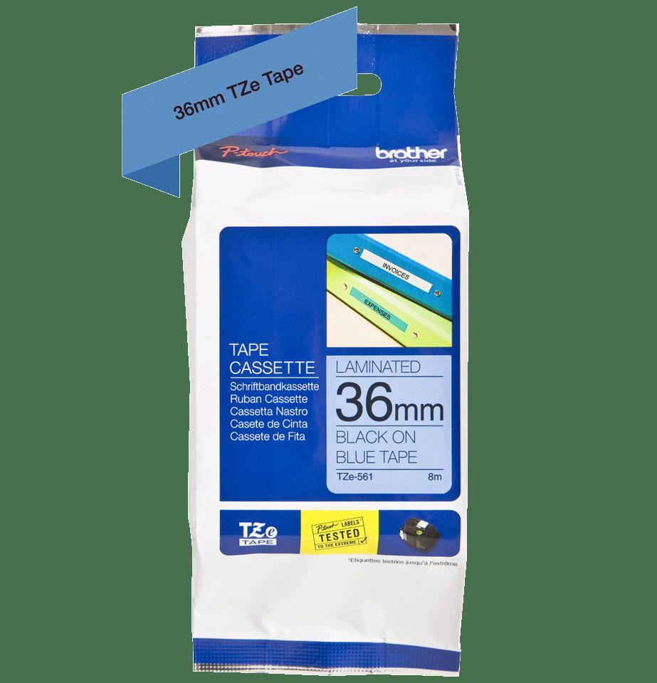 Eredeti Brother TZe-561 Labellilaminált szalag – Kék alapon fekete, 36mm széles 2