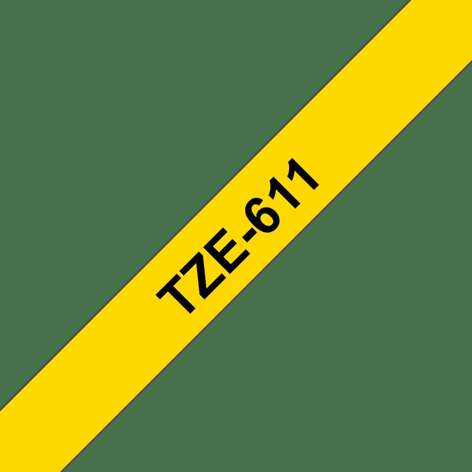 Eredeti Brother TZe-611 szalag – Sárga alapon fekete, 6mm széles 3