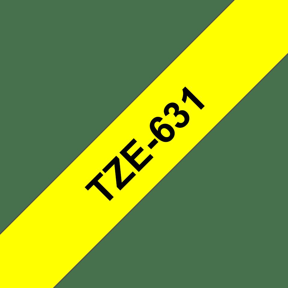 Eredeti Brother TZe-631 szalag – Sárga alapon fekete, 12mm széles 3