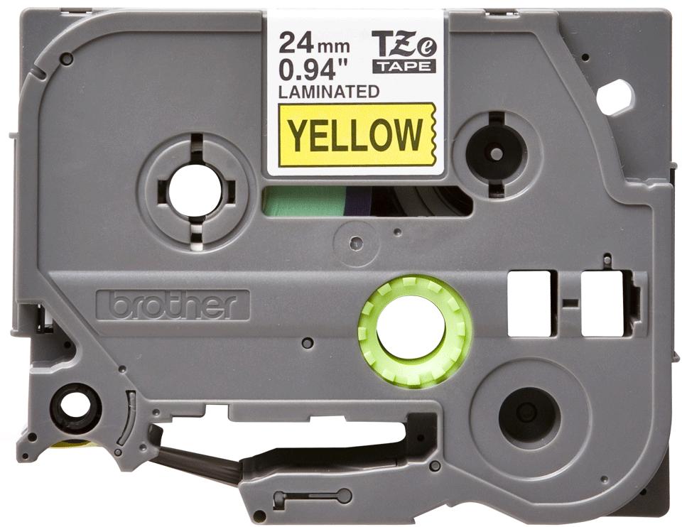 Eredeti Brother TZe-651 laminált szalag – Sárga alapon fekete, 24mm széles