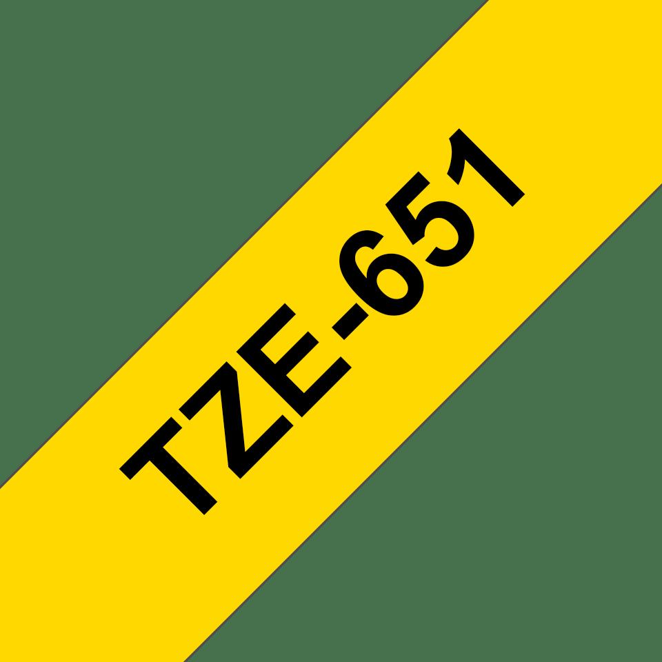 Eredeti Brother TZe-651 laminált szalag – Sárga alapon fekete, 24mm széles 3